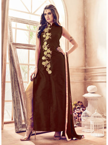Brown Color Banglori Silk Un Stitched Salwar - F1080