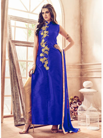 Blue Color Banglori Silk Un Stitched Salwar - F1081