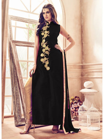 Black Color Banglori Silk Un Stitched Salwar - F1082