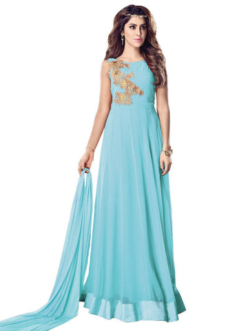 Sky Blue Color Georgette Un Stitched Salwar - F1085
