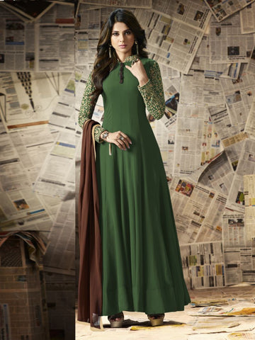 Green Color Georgette Un Stitched Salwar - F1090