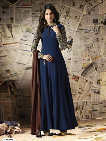 Navy Blue Color Georgette Un Stitched Salwar - F1091