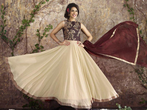 Off White Color Georgette Un Stitched Salwar - F1093