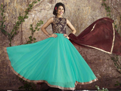 Sky Blue Color Georgette Un Stitched Salwar - F1094