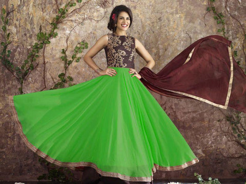Parrot Green Color Georgette Un Stitched Salwar - F1095