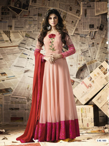 Light Pink Color Georgette Un Stitched Salwar - F1096