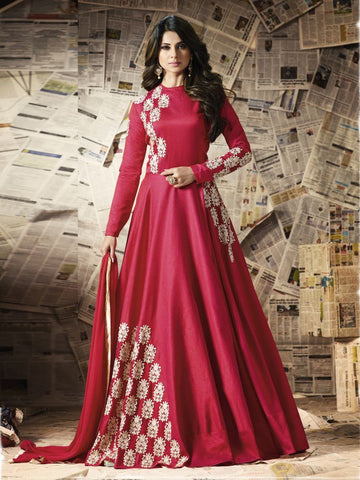 Red Color Chennai Silk Un Stitched Salwar - F1097