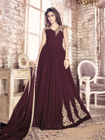 Brown Color Georgette Un Stitched Salwar - F1098