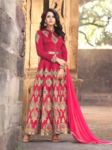 Red Color Banglori Silk Un Stitched Salwar - F1106