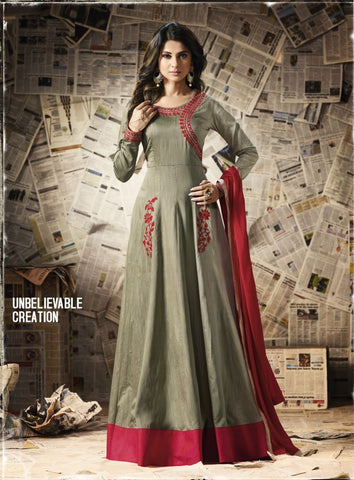 Grey Color Banglori Silk Un Stitched Salwar - F1109