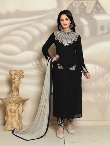 Black Color Georgette Un Stitched Salwar - F1113