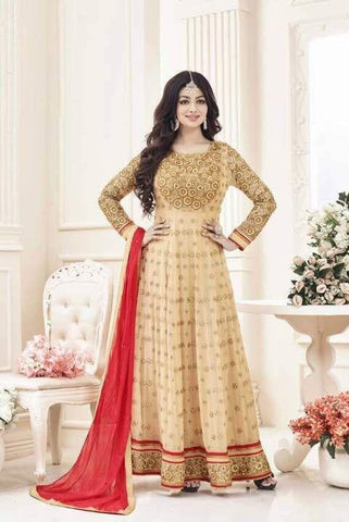 Beige color Georgette Un Stitched Salwar - F1114