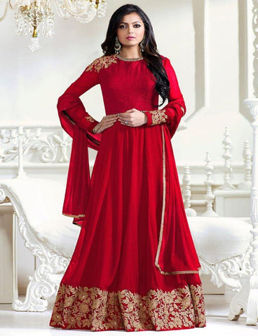 Red Color Faux Georgette Un Stitched Salwar - F1123