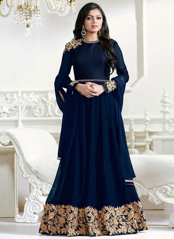 Blue Color Faux Georgette Un Stitched Salwar - F1124
