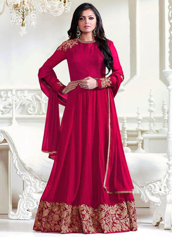 Pink Color Faux Georgette Un Stitched Salwar - F1126