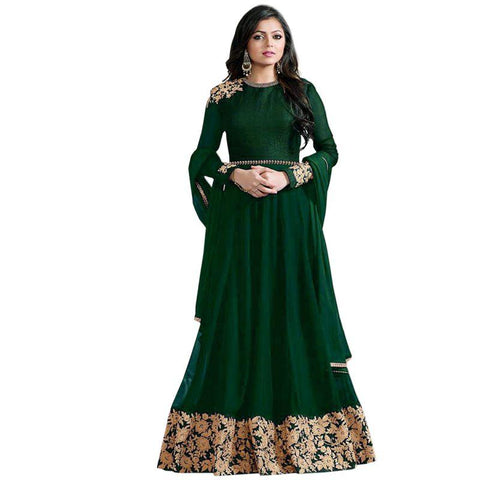 Green Color Faux Georgette Un Stitched Salwar - F1127