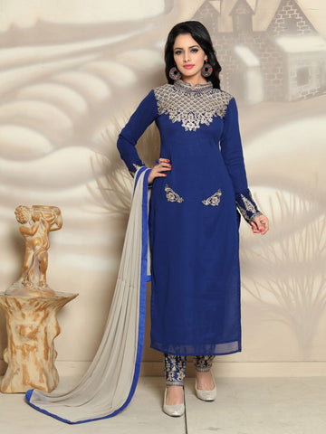 Blue Color Georgette Un Stitched Salwar - F1128