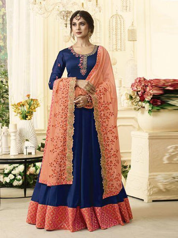 Blue Color Silk Anarkali Semi-Stitched Salwar - F1305-Blue