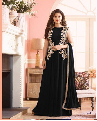 Black Color Georgette Un Stitched Salwar - F152