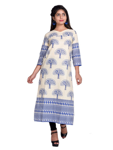Blue Color Cotton Printed Kurti - F1_Blue
