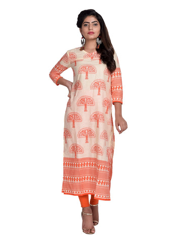 Orange Color Cotton Printed Kurti - F1_Orange