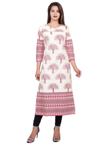 Pink Color Cotton Printed Kurti - F1_Pink