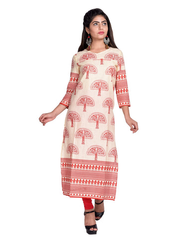 Red Color Cotton Printed Kurti - F1_Red