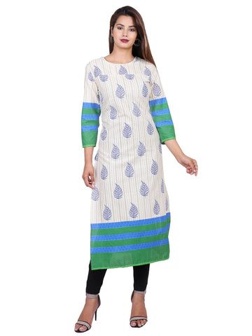 Blue Color Cotton Printed Kurti - F2_Blue