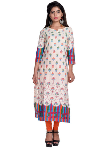 Orange Color Cotton Printed Kurti - F3_Orange