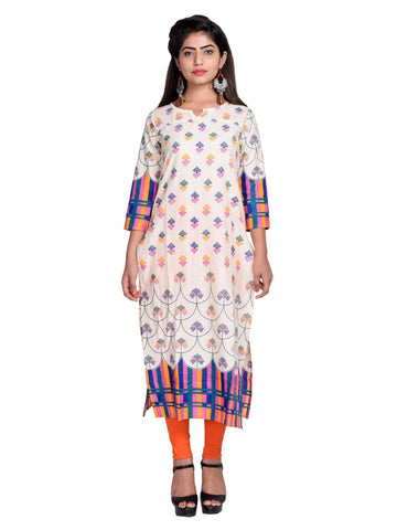 Purple Color Cotton Printed Kurti - F3_Purple