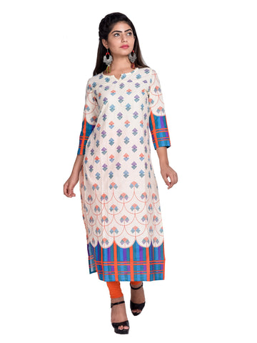 Sky Blue  Color Cotton Printed Kurti - F3_Sky Blue