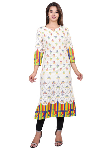 Yellow Color Cotton Printed Kurti - F3_YELLOW