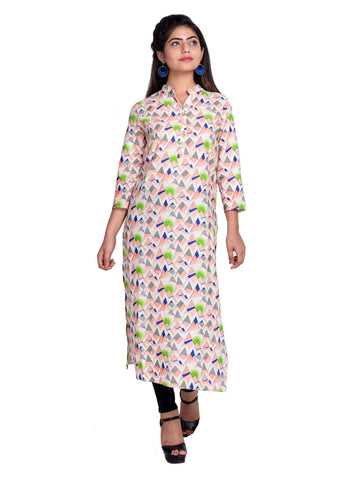 Green Color Cotton Printed Kurti - F4_GREEN