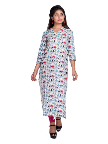 Pink Color Cotton Printed Kurti - F4_PINK