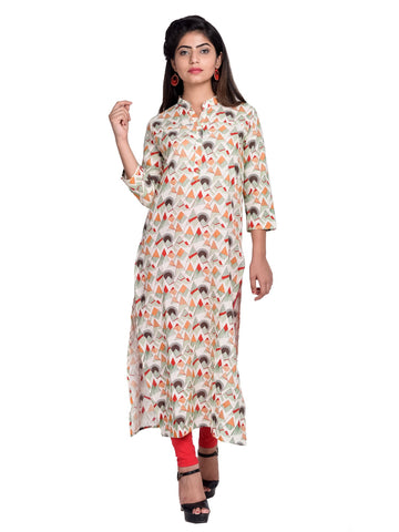 Red Color Cotton Printed Kurti - F4_RED