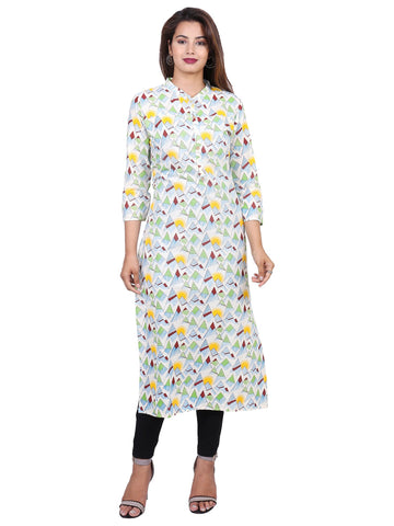Yellow Color Cotton Printed Kurti - F4_YELLOW