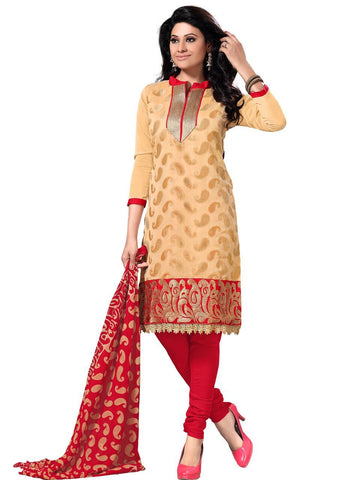 Beige Color Chanderi Unstitched Salwar Kameez - FAB11007