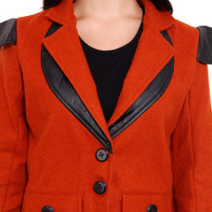 FBBIC-Women's Beautiful Winterwear Orange Color woolen leather coat - FBBIC 18280- 1