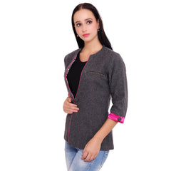 FBBIC-Women's Beautiful Winterwear Grey Color woolen zip coat - FBBIC 18283- 1