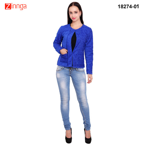 FBBIC-Women's Beautiful Winterwear Blue Color jute short coat - FBBIC 18274- 1