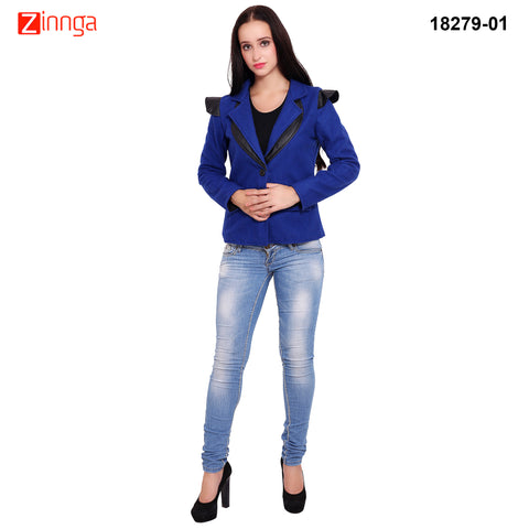 FBBIC-Women's Beautiful Winterwear Blue Color woolen leather coat - FBBIC 18279- 1