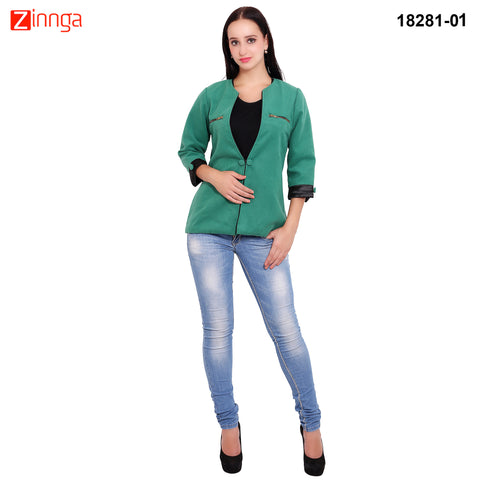 FBBIC-Women's Beautiful Winterwear Green Color woolen zip coat - FBBIC 18281- 1