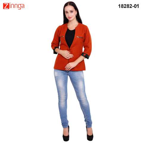 FBBIC-Women's Beautiful Winterwear Orange Color woolen zip coat - FBBIC 18282- 1