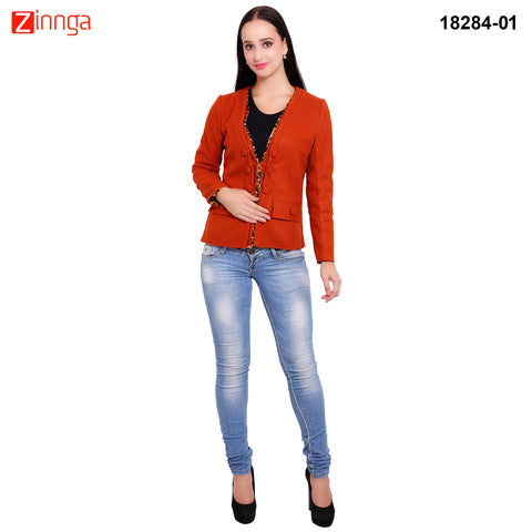 FBBIC-Women's Beautiful Winterwear Orange Color woolen piping coat - FBBIC 18284- 1