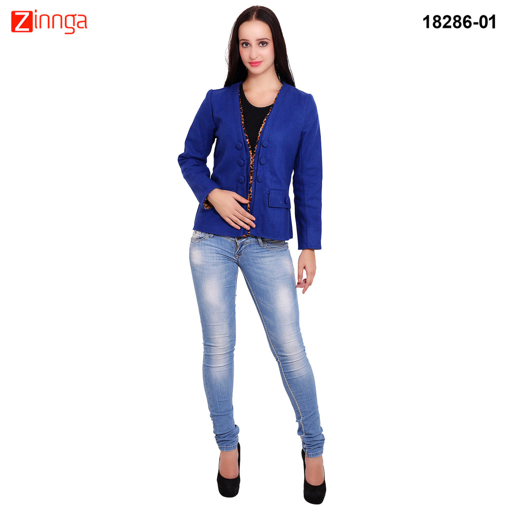 FBBIC-Women's Beautiful Winterwear Blue Color woolen piping coat - FBBIC 18286- 1