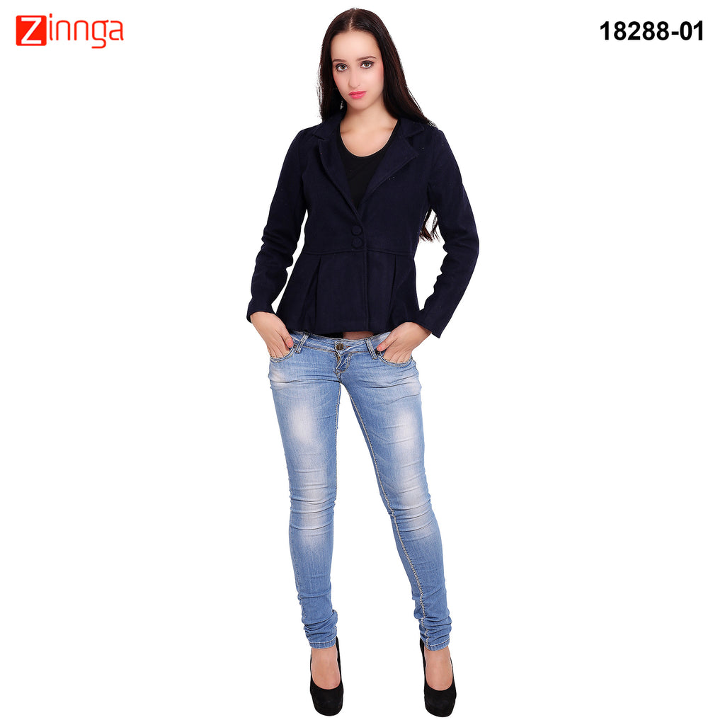 FBBIC-Women's Beautiful Winterwear Blue Color woolen frill coat - FBBIC 18288- 1