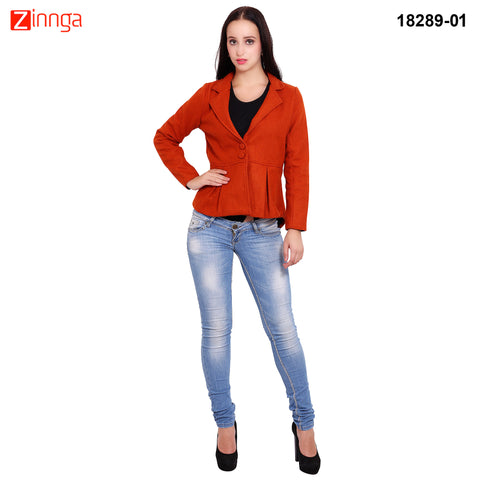 FBBIC-Women's Beautiful Winterwear Orange Color woolen frill coat - FBBIC 18289- 1