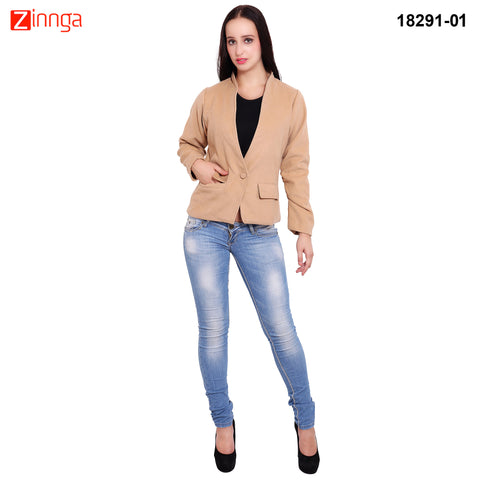 FBBIC-Women's Beautiful Winterwear Beige Color wool geather coat - FBBIC 18291- 1