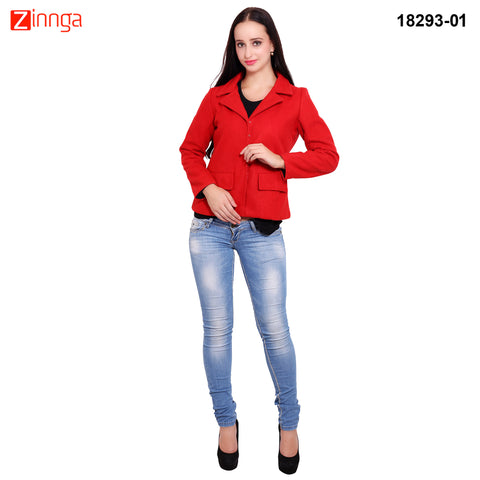 FBBIC-Women's Beautiful Winterwear Red Color wool flap pocket coat - FBBIC 18293- 1
