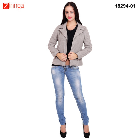 FBBIC-Women's Beautiful Winterwear Grey Color wool flap pocket coat - FBBIC 18294- 1